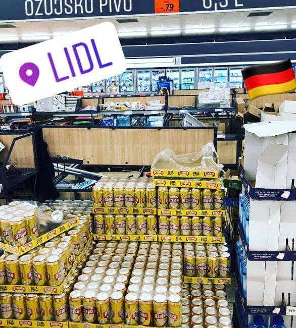 Ožujsko pivo u Lidlu u Njemačkoj