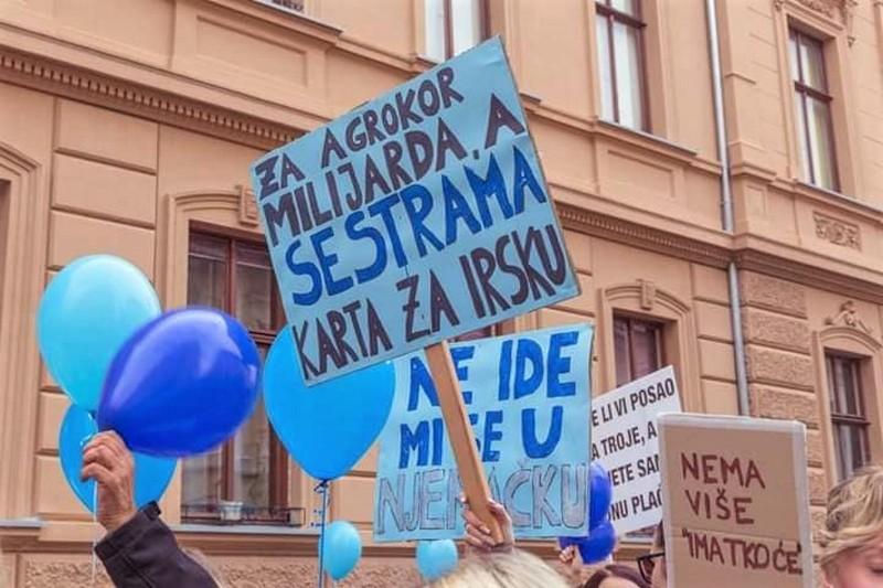 Prosvjed medicinskih sestara u Zagrebu
