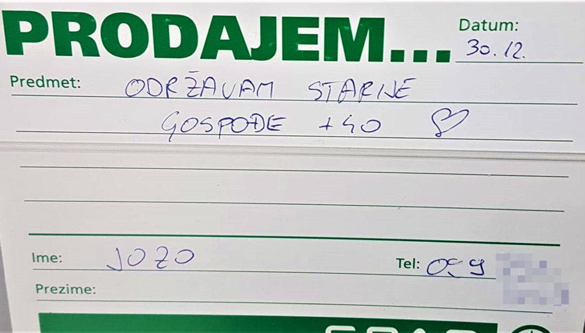 Oglas koji je Jozo ostavio u trgovačkom centru u Koprivnici